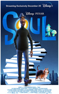 Movie poster for SOUL, man and cat walking down a fanciful staircase made of piano keys.